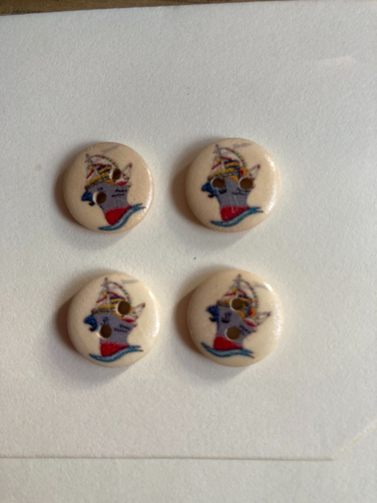 Boat Wooden Buttons 15mm  Pack of 10 DW02