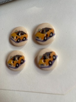 Car Wooden Buttons 15mm  Pack of 10 DW04