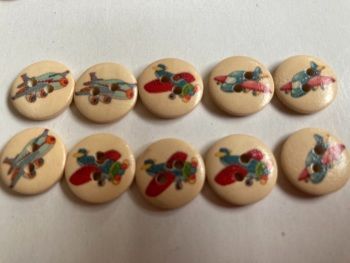 Plane / Aeroplane Wooden Buttons 15mm  Pack of 10 DW06