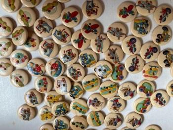 Mixed Transport Wooden Buttons 15mm -Random Mix- Pack of 15DW10