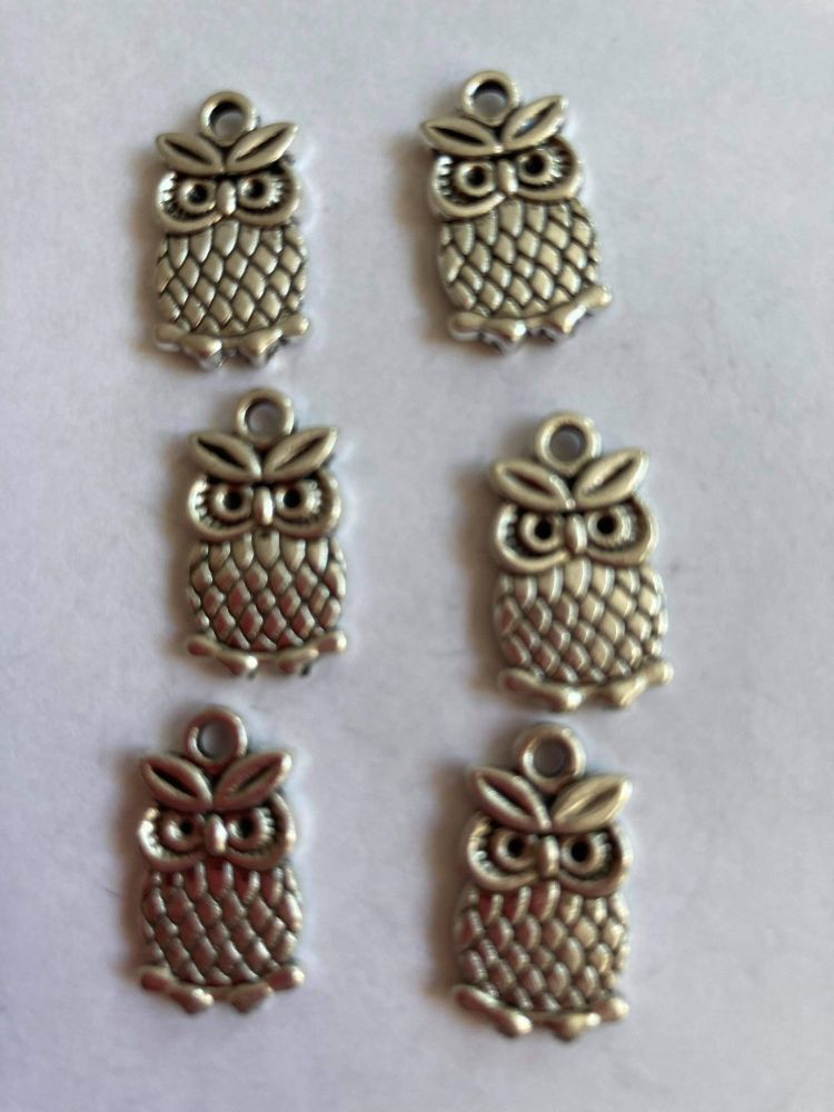Owl Charms  (Pack of 6 ) CH80
