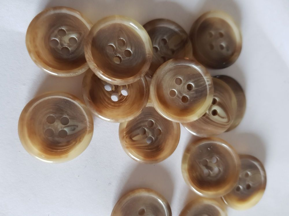 Brown/Beige Marl Button 20mm (Pack of 10) MN02
