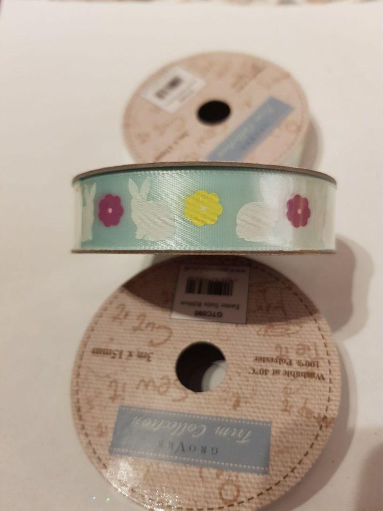 Easter Rabbit / Flower Satin Ribbon 15mm (3 metres)