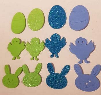 Easter Stickers /Foam - Egg, Chick, Bunny (Pack of 12) Blue & Green