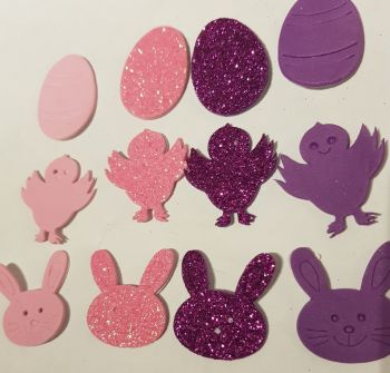 Easter Stickers /Foam - Egg, Chick, Bunny (Pack of 12) Pink & Purple