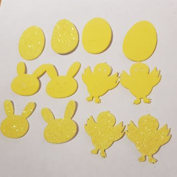 Easter Stickers /Foam - Egg, Chick, Bunny (Pack of 12) Yellow