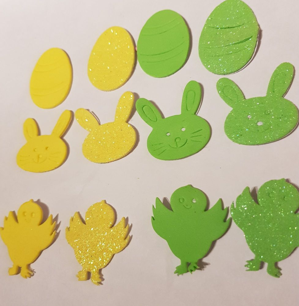 Easter Stickers /Foam - Egg, Chick, Bunny (Pack of 12) Yellow & Green