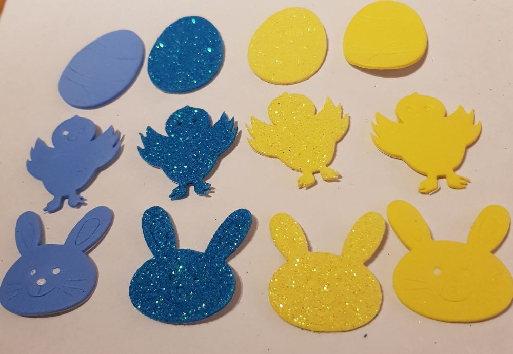 Easter Stickers /Foam - Egg, Chick, Bunny (Pack of 12) Yellow & Blue