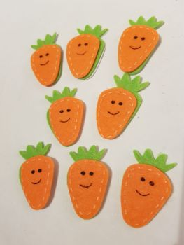 Easter Stickers /Felt - Carrots 58x33mm approx (Pack of 8 )