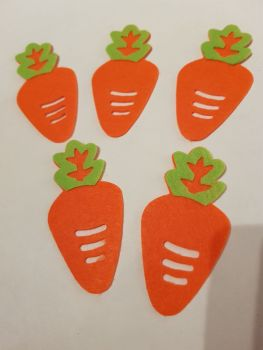 Easter Felt Shapes- Carrots 83x42mm approx (Pack of 5)