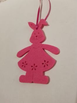 Easter Felt Hanging Decoration - Pink Bunny/Rabbit 90x60mm approx
