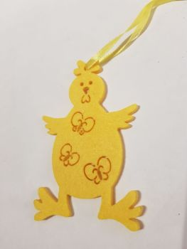 Easter Felt Hanging Decoration - Yellow Chick 90x60mm approx