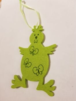 Easter Felt Hanging Decoration - Green  Chick 90x60mm approx