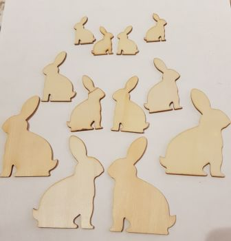 Easter Wooden Shapes - Rabbit/Bunny 30/50/70mm (Pack of 12)