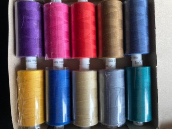 10 x Mixed Colours Thread 1000 yards each (Box  of 10 as shown) MT05