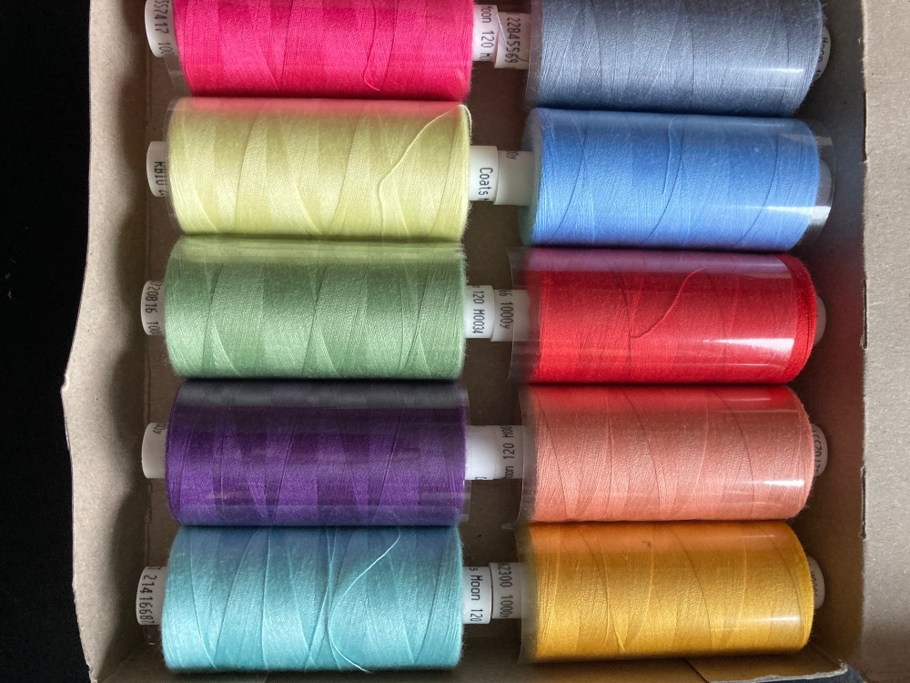 10 x Mixed Colours Thread 1000 yards each (Box of 10 as shown) MT06