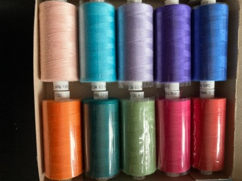 10 x Mixed Colours Thread 1000 yards each (Box of 10 as shown). MT04