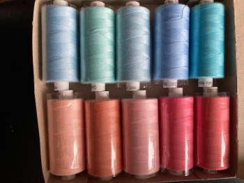 Blue / Pink Thread 1000 yards each (Box of 10) as shown. MT07