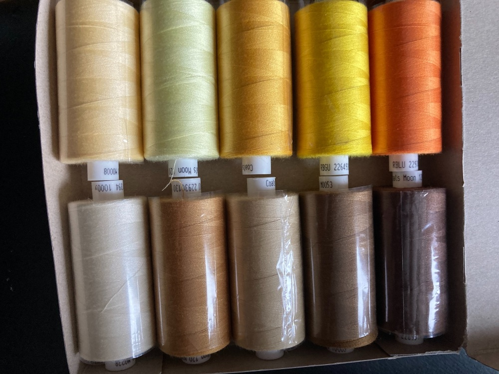 Yellow/ Orange / Brown / Cream Thread 1000 yard each (Box of 10 as shown) M