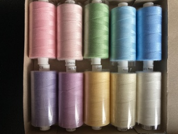 10 x Mixed Colours Thread 1000 yards each (Box of 10 as shown) MT03