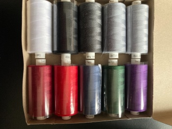10 x Mixed Colour Thread 1000 yards each (as shown ) MT02