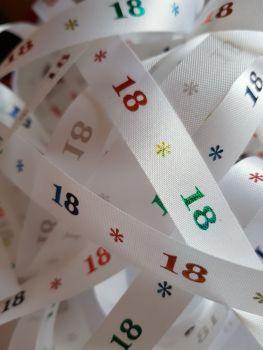 Birthday -  18 *   White with Rainbow Satin  15mm (3 metre Pack)