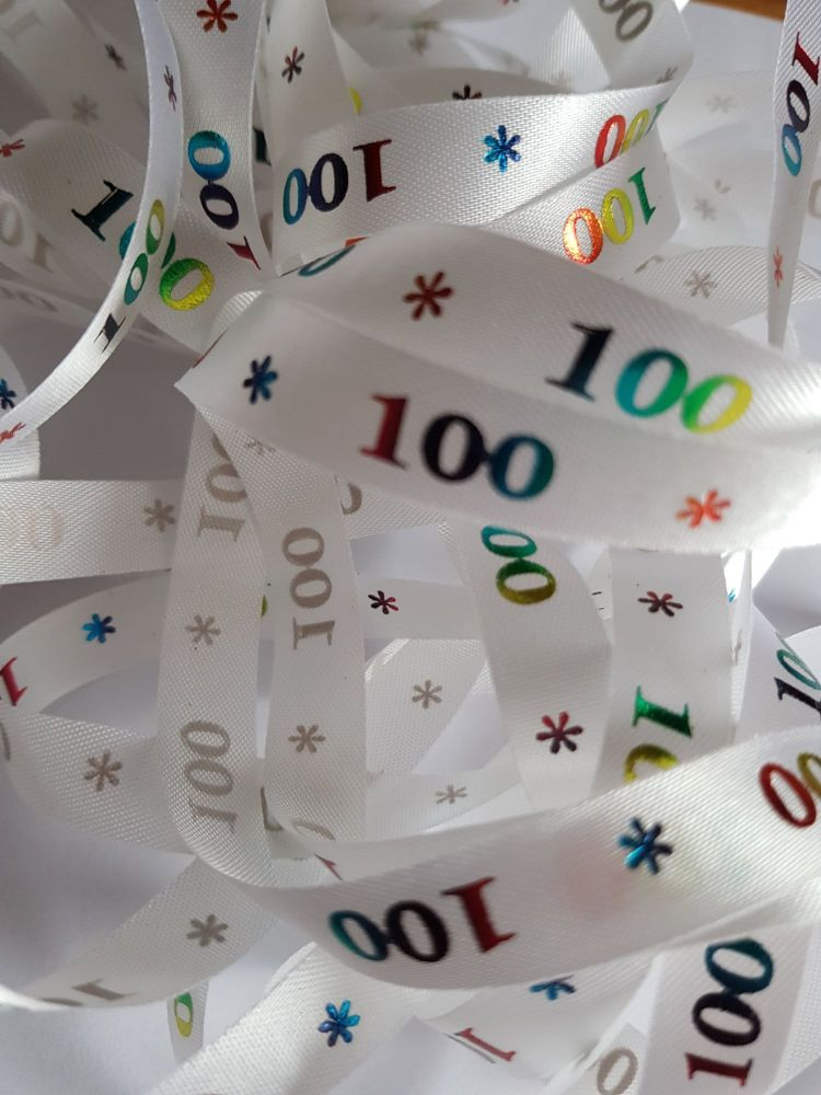 Birthday -  100 *   White with Rainbow Satin  15mm (3 metre Pack)