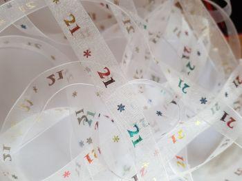 Birthday -  21 *   White with Rainbow Organza 15mm (3 metre Pack)