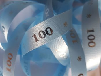 Birthday -  100 *   Blue with Silver Satin  15mm (3 metre Pack)