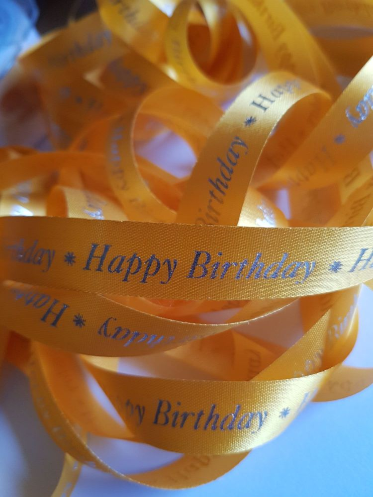 Birthday -  Happy birthday  Orange with Silver Satin  15mm (3 metre Pack)