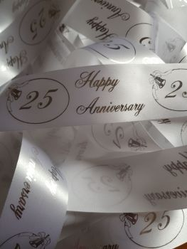 Anniversary -  25 White with Silver Satin 38mm (2 metre Pack)