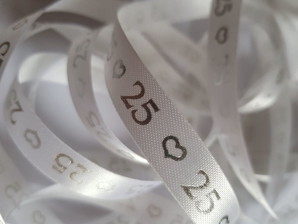 Anniversary -  25 White with Silver Satin 10mm (3 metre Pack)