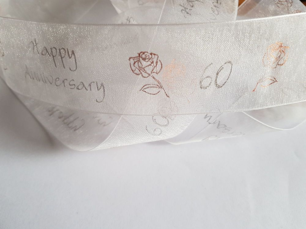 Anniversary -  60 White with Silver /Gold Organza 38mm (2 metre Pack)