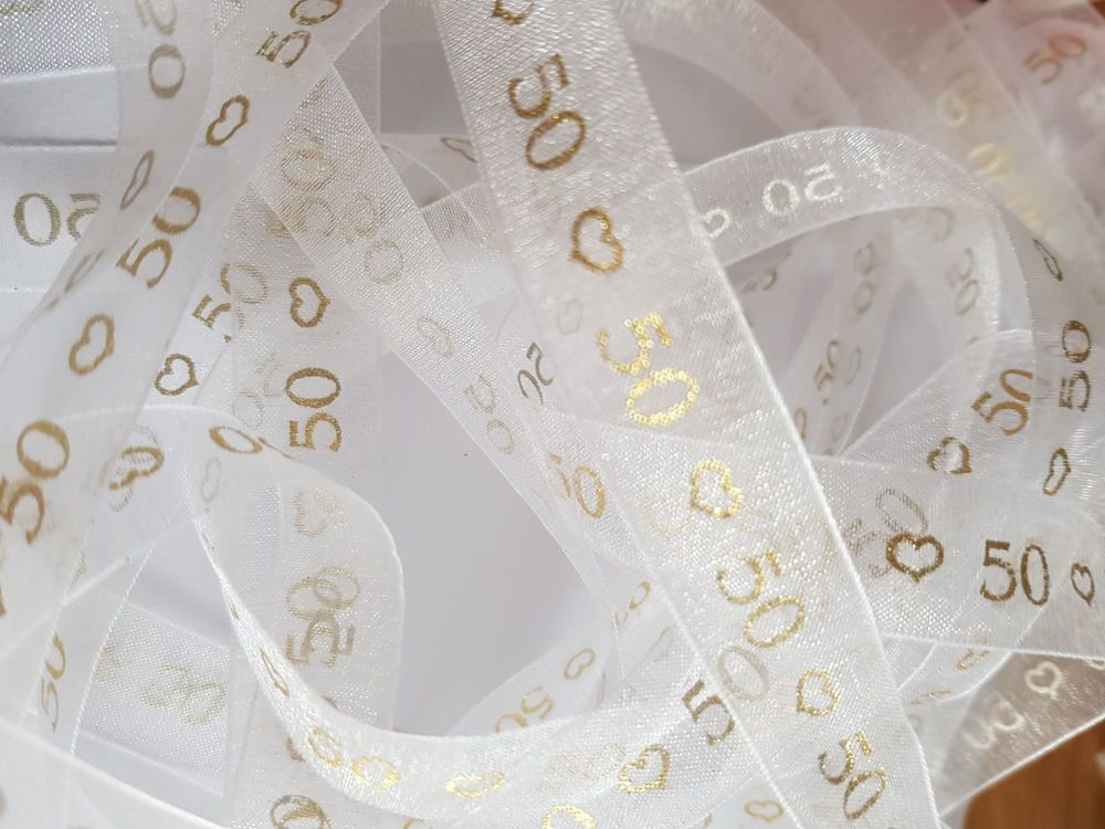 Anniversary -  50 White with Gold Organza 15mm (3 metre Pack)