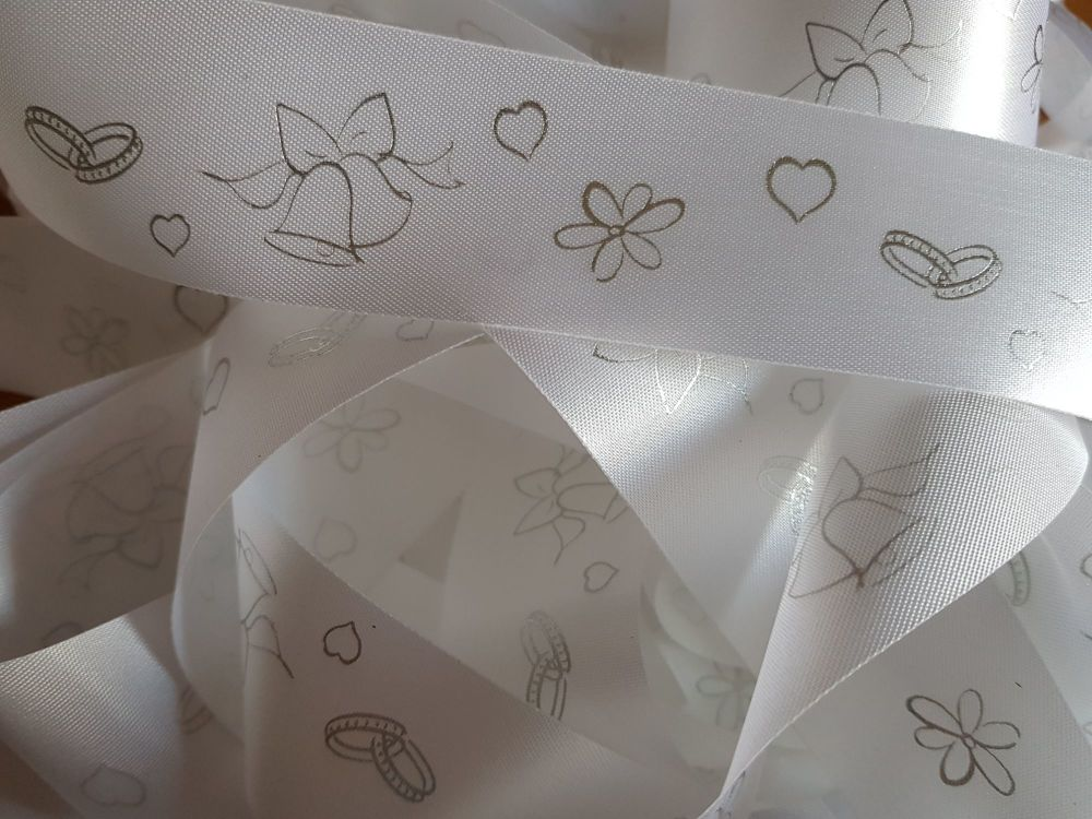 Wedding -  White with Silver Satin 38mm (2 metre Pack)