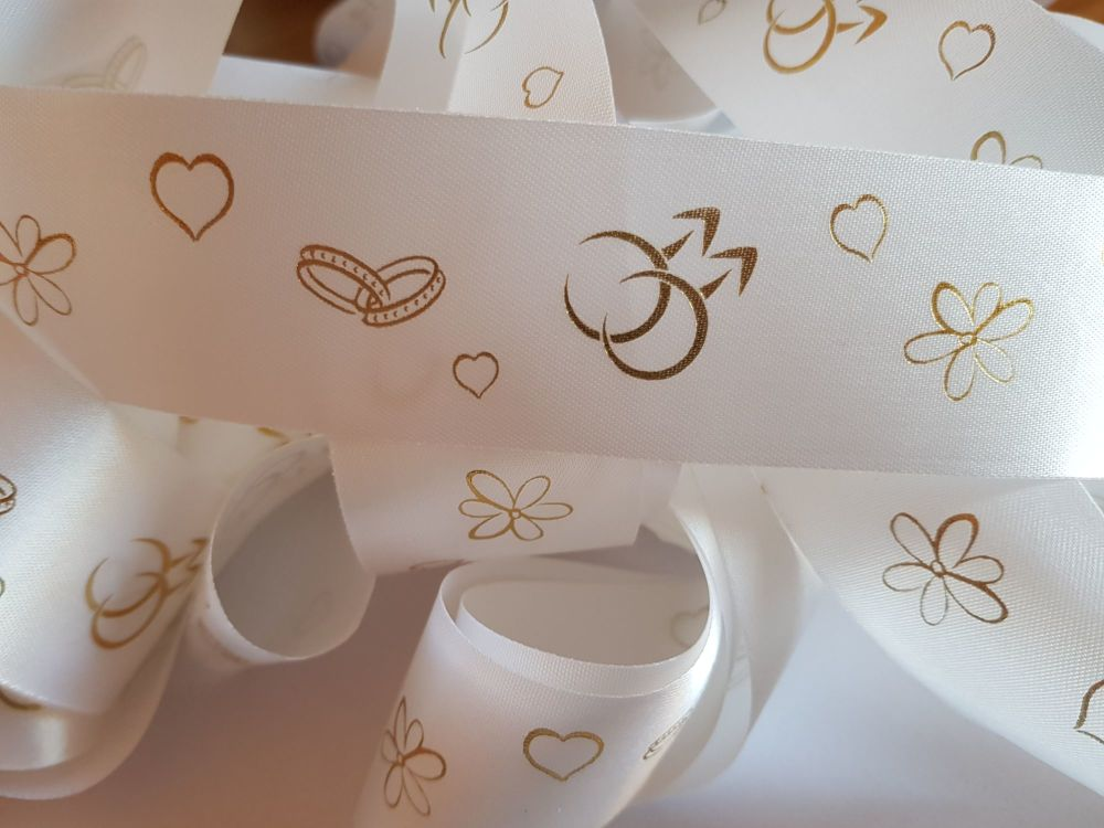 Wedding -  Mr & Mr White with Gold Satin 38mm (2 metre Pack)