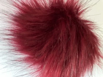 Burgundy Fluffy Pom Pom- Suitable for Hats .Elastic hoop to attach (Each)