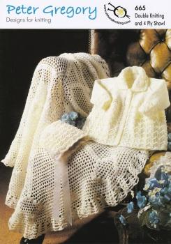 Shawl / Coat / Bonnet Knitting Pattern PG665