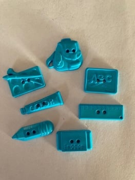 School Collection- Buttons / Embellishments (7 pack as shown ) Turquoise SC02