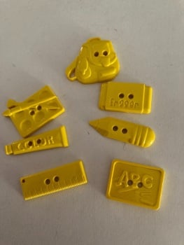 School Collection- Buttons / Embellishments (7 pack as shown ) Yellow SC05