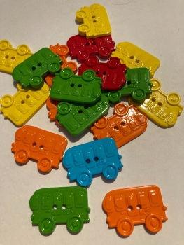 School Collection- Buttons / Embellishments Bus (6 pack) Random Mix SC12