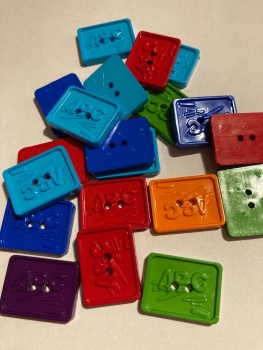 School Collection- Buttons / Embellishments  ABC Board  8pack) Random Mix SC18