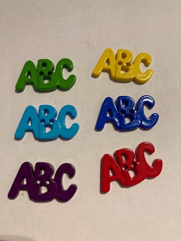 School Collection- Buttons / Embellishments  ABC (6 pack ) Random Mix SC21