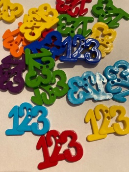 School Collection- Buttons / Embellishments  123 (6 pack ) Random Mix SC20