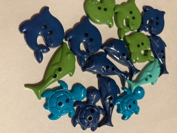 Beach /Sea Collection- Buttons / Embellishments Dolphins Seal Turtle (7 pack) Random Mix SC28