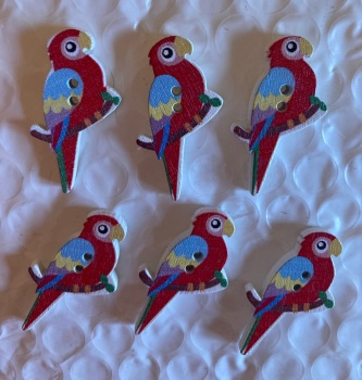 Parrot Wooden Button - 35x20mm (Pack of  6 as shown) PR01