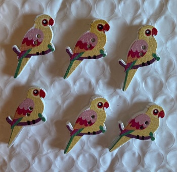 Parrot Wooden Button - 35x20mm (Pack of  6 as shown) PR02