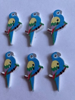 Parrot Wooden Button - 35x20mm (Pack of  6 as shown) PR04