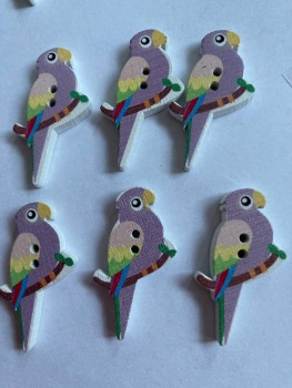 Parrot Wooden Button - 35x20mm (Pack of  6 as shown) PR05