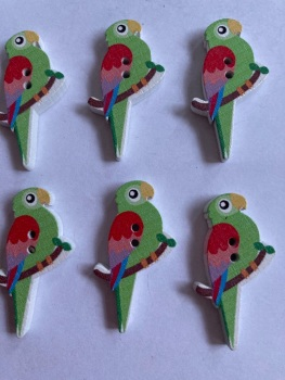 Parrot Wooden Button - 35x20mm (Pack of  6 as shown) PR07